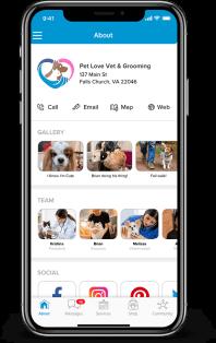 Pet Connect Pet services management system mobile view