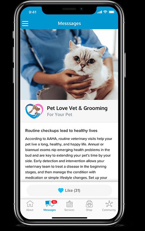 Pet services management hub messaging system mobile view