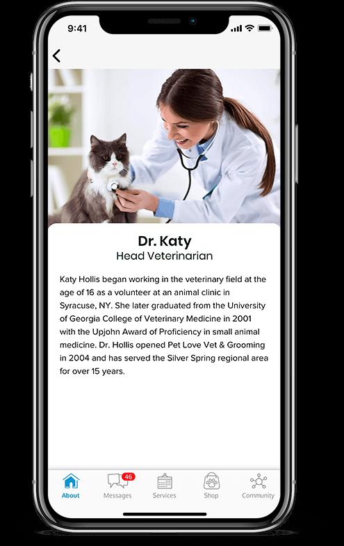 Pet services management hub Team showcase mobile view