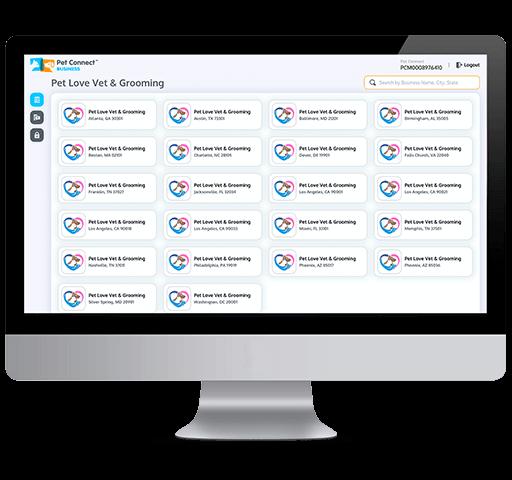 Pet Services management hub multi location dashboard desktop view